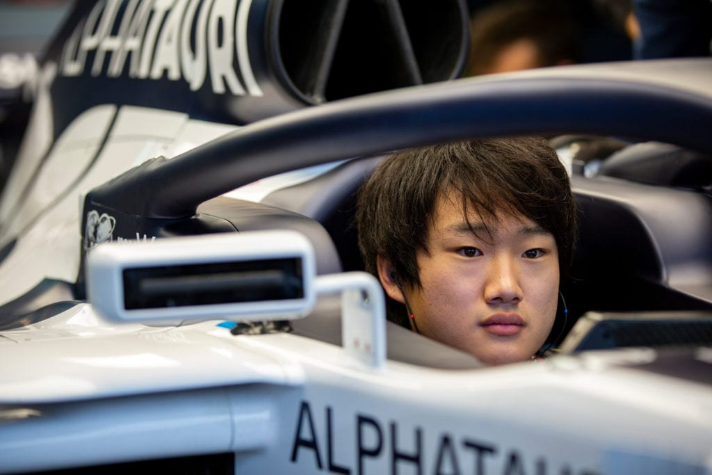 Yuki Tsunoda of Japan is seen during his first F1 test at Autodromo Enzo e Dino Ferrari in Imola, Italy on November 4, 2020