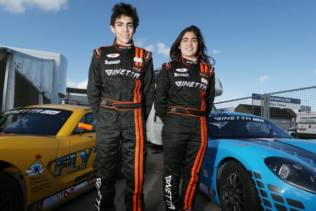 Jamie Chadwick and older brother ollie pose with their Ginetta Junior cars